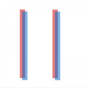 [image description: two parallel blue lines closely aligned with 2 parallel red lines. They slightly overlap and turn purple where overlapping]