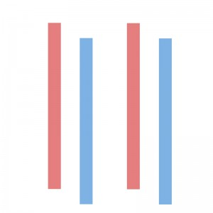 [image description: two parallel blue lines closely aligned with two parallel red lines