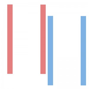 [image description: 2 parallel blue lines and 2 parallel red lines stand apart, not aligned